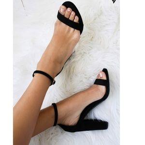 Forever 21 Taylor Black Leather Sandal Heels NWOT